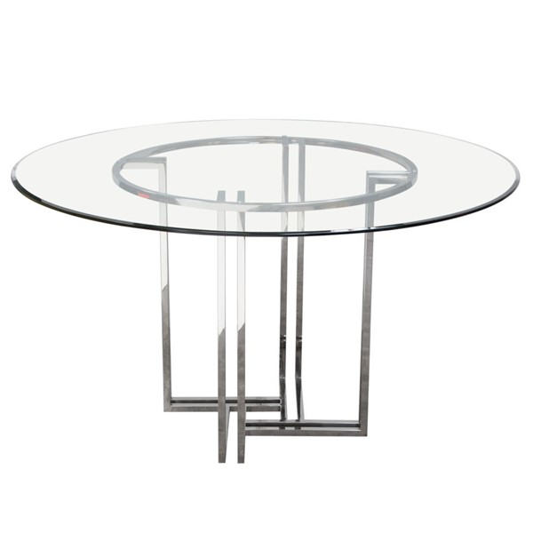 Diamond Sofa Deko Glass Top Stainless Steel Base Round Dining Table DMND-DEKORDT