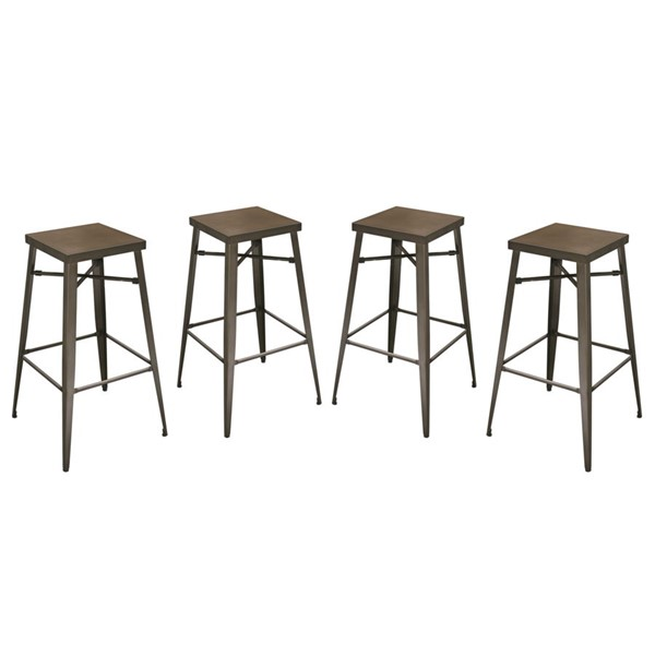 4 Diamond Sofa Duke Brown Metal Bar Stools DMND-DUKESTRT4PK