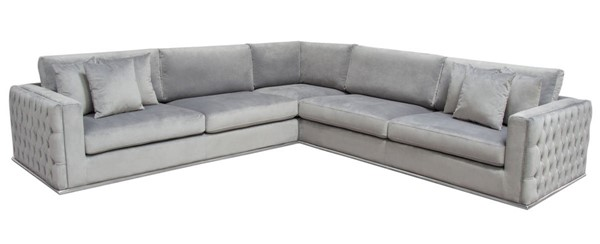 Diamond Sofa Envy Grey Velvet 3pc Sectional DMND-ENVY3PCSECTGR