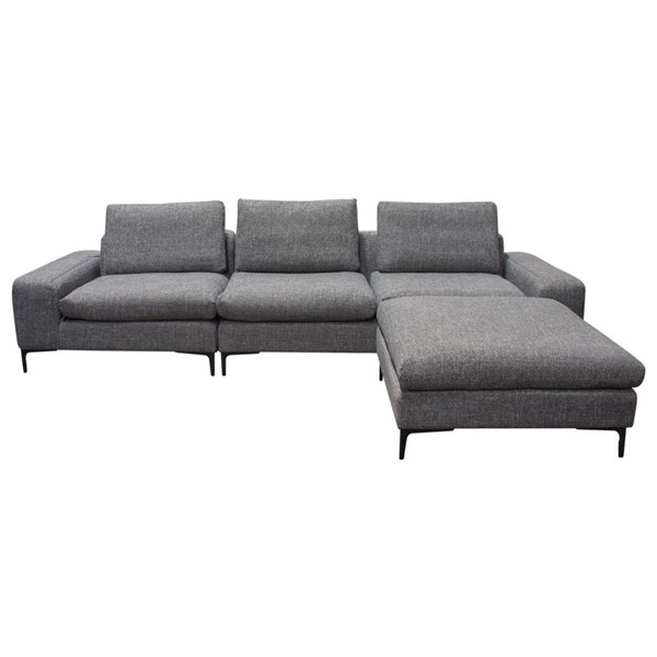 Diamond Sofa Flux Grey Fabric 3pc Modular Sectional with Reversible Ottoman DMND-FLUX3PCSECTGR