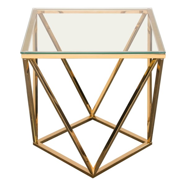 Diamond Sofa Gem Glass Top Gold Base End Table DMND-GEMETGD
