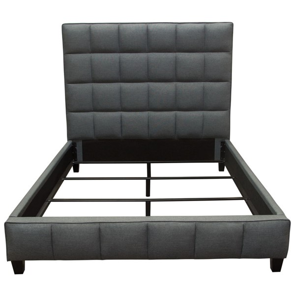 Diamond Sofa Loft Graphite Grey Fabric Tufted Queen Bed DMND-LOFTQUBEDGR