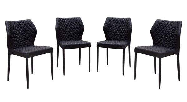 4 Diamond Sofa Milo Black Dining Chairs DMND-MILODCBL4PK