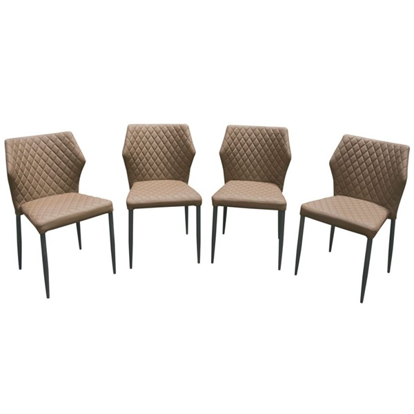 4 Diamond Sofa Milo Coffee PU Dining Chairs DMND-MILODCCF4PK