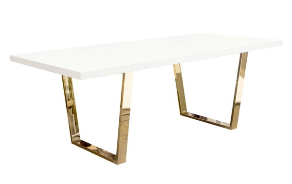 Diamond Sofa Mirage White Lacquer Top Gold Metal Base Rectangular Dining Table DMND-MIRAGE2DTGD
