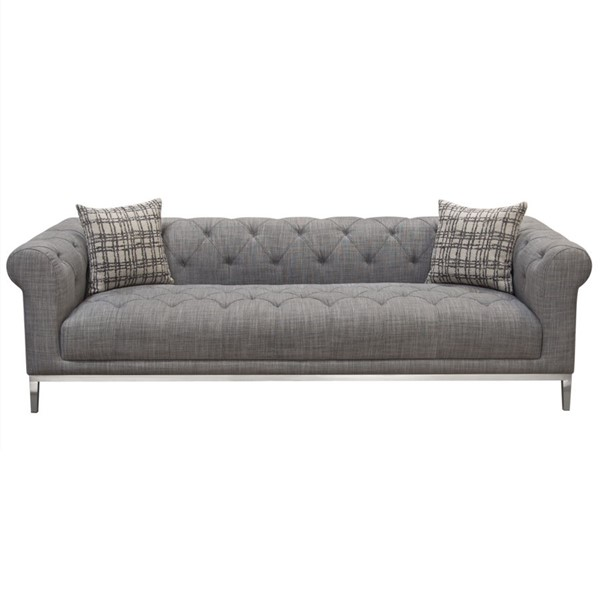 Diamond Sofa Monroe Grey Fabric Tufted Sofa DMND-MONROESOGL