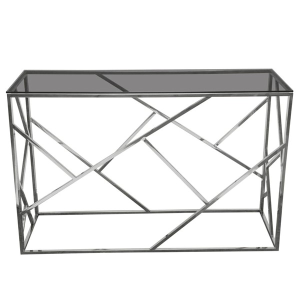 Diamond Sofa Nest Smoked Glass Top Silver Base Rectangular Console Table DMND-NESTCSSL
