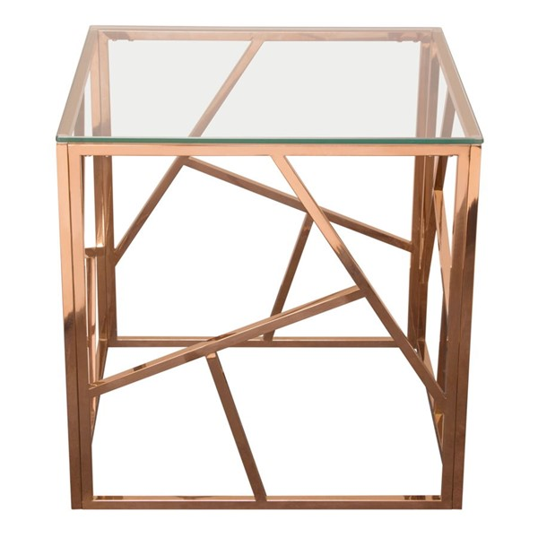 Diamond Sofa Nest Clear Glass Top Gold Base Square End Table DMND-NESTETRG