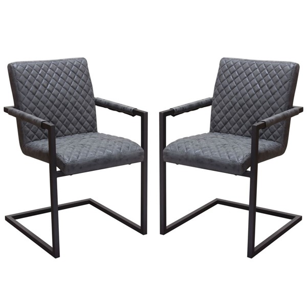 2 Diamond Sofa Nolan Charcoal PU Dining Chairs DMND-NOLANDCBL2PK