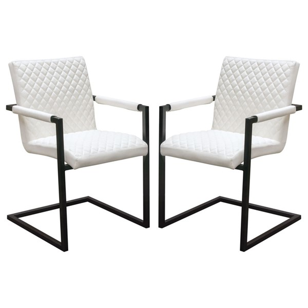 2 Diamond Sofa Nolan White PU Dining Chairs DMND-NOLANDCWH2PK
