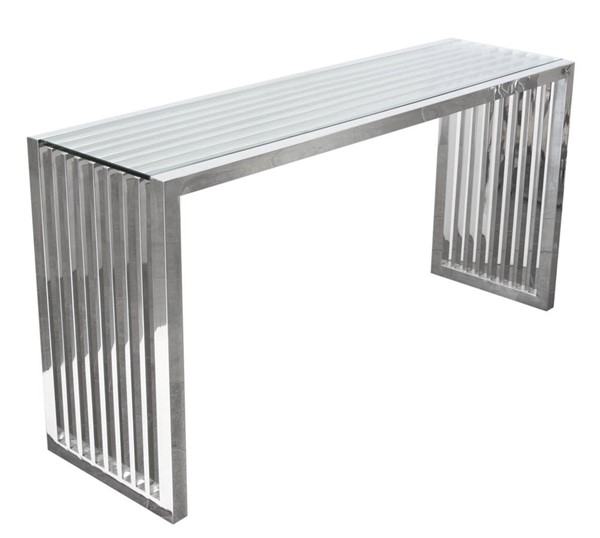 Diamond Sofa Soho Glass Top Stainless Steel Base Console Table DMND-SOHOCSST