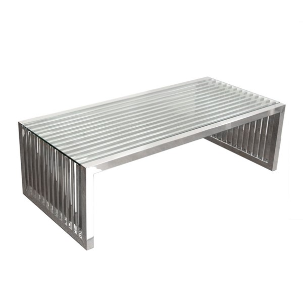 Diamond Sofa Soho Glass Top Stainless Steel Base Cocktail Table DMND-SOHOCTST