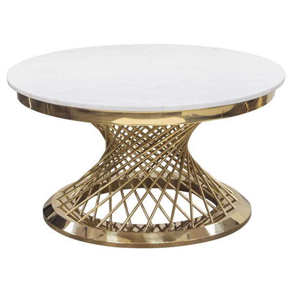 Diamond Sofa Solstice Marble Top Gold Base Round Cocktail Table DMND-SOLSTICECTGD