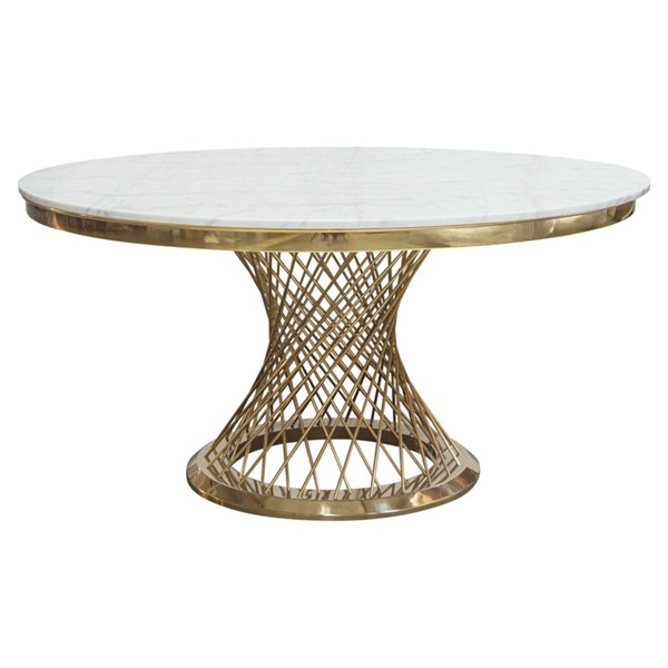Diamond Sofa Solstice Gold Base 60 Inch Round Dining Table DMND-SOLSTICEDTGD