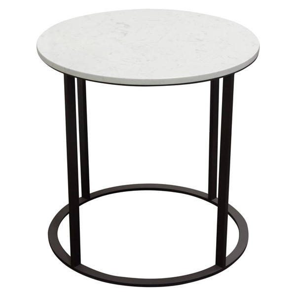 Diamond Sofa Surface White Round End Table DMND-SURFACEETMA