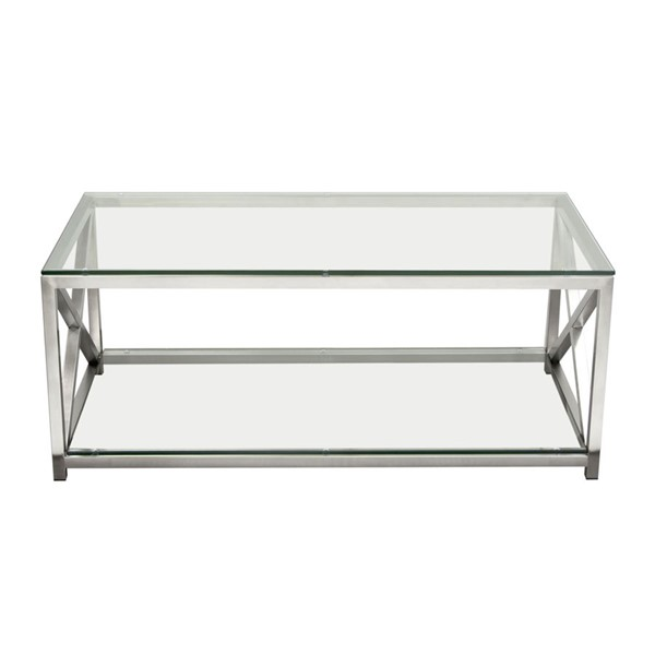 Diamond Sofa X Factor Clear Glass Top Silver Base Cocktail Table DMND-XFACTORCT