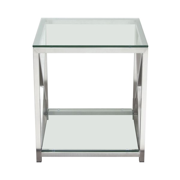 Diamond Sofa X Factor Clear Glass Top Silver Base End Table DMND-XFACTORET