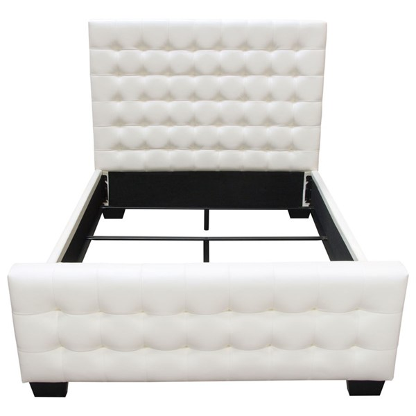 Diamond Sofa Zen White Leatherette King Bed with Oversized Footboard DMND-ZENWHEKBED