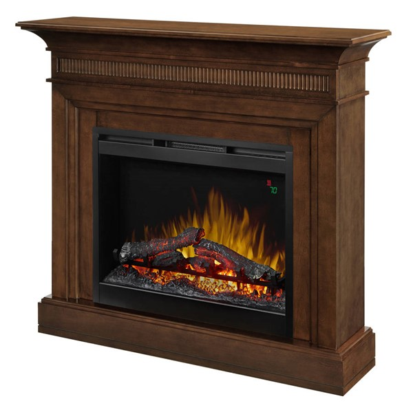Dimplex Harleigh Walnut Mantel Electric Fireplace with Logs DMP-DFP26L-1475WN