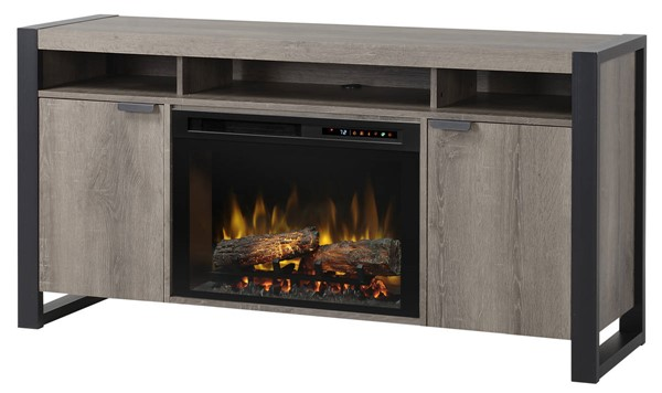 Dimplex Pierre Steeltown Wood Media Console Electric Fireplace with Logs DMP-GDS25L8-1571ST