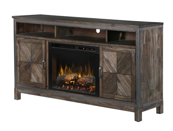 Dimplex Wyatt Barley Brown Hardwood Media Console Electric Fireplace with Logs DMP-GDS25L8-1589BY