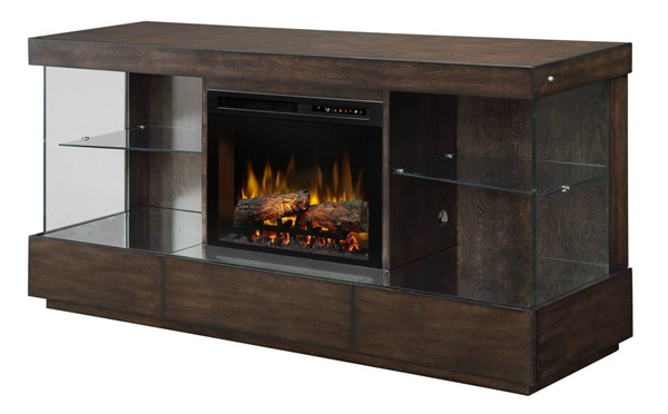 Dimplex Camilla Mink Wood Media Console Electric Fireplace with Logs DMP-GDS25L8-1591MK