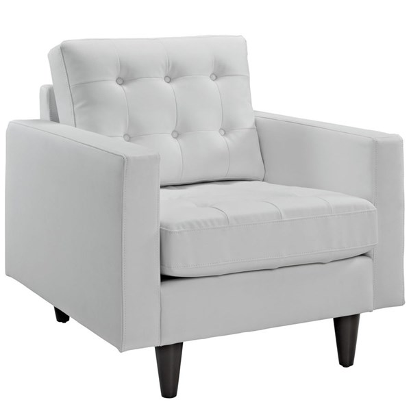 Empress Modern White Bonded Leather Solid Wood Armchair EEI-1012-WHI