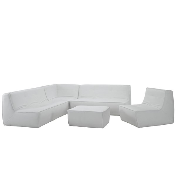 Align Modern White Bonded Leather PU 5pc Sectional EEI-1014-WHI-SET