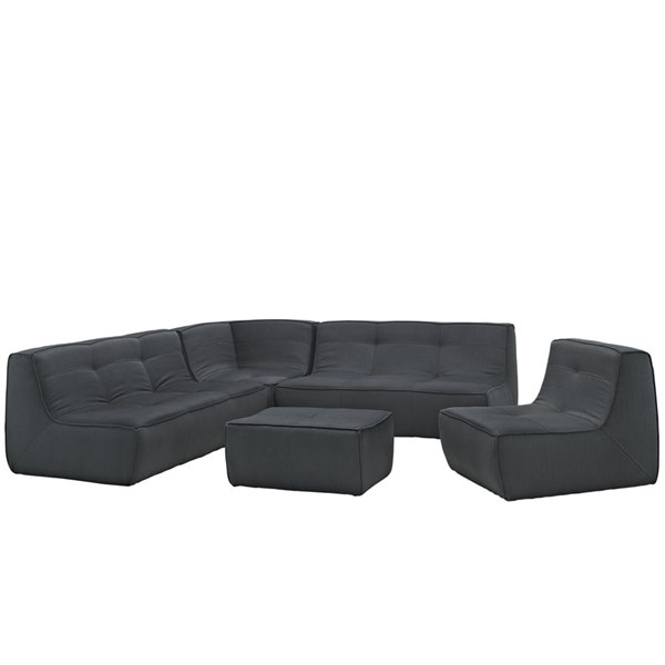 Align Modern Charcoal Fabric 5pc Upholstered Sectional EEI-1015-CHA-SET