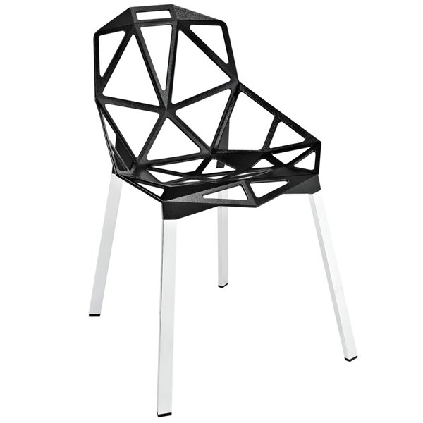 Connections Modern Black Aluminum Dining Side Chair EEI-1016-BLK