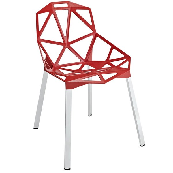 Connections Modern Red Aluminum Dining Side Chair EEI-1016-RED