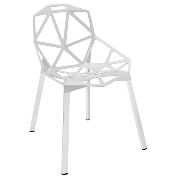 Connections Modern White Aluminum Dining Side Chair EEI-1016-WHI