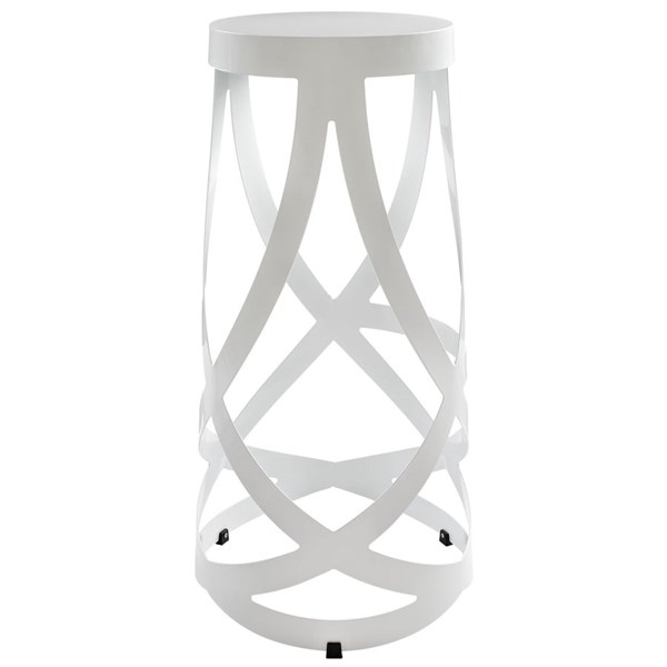 Ribbon White Steel Cross Base Round Bar Stool EEI-1017-WHI