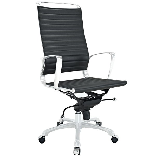 Tempo Modern Black Vinyl Aluminum Highback Office Chairs EEI-1025-HOF-CH-VAR