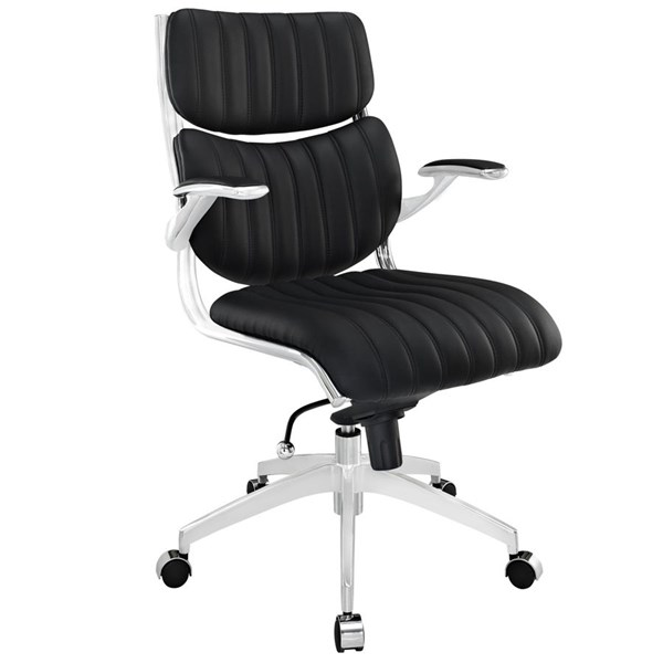 Escape Modern Black Faux Leather Metal Mid Back Office Chair EEI-1028-BLK