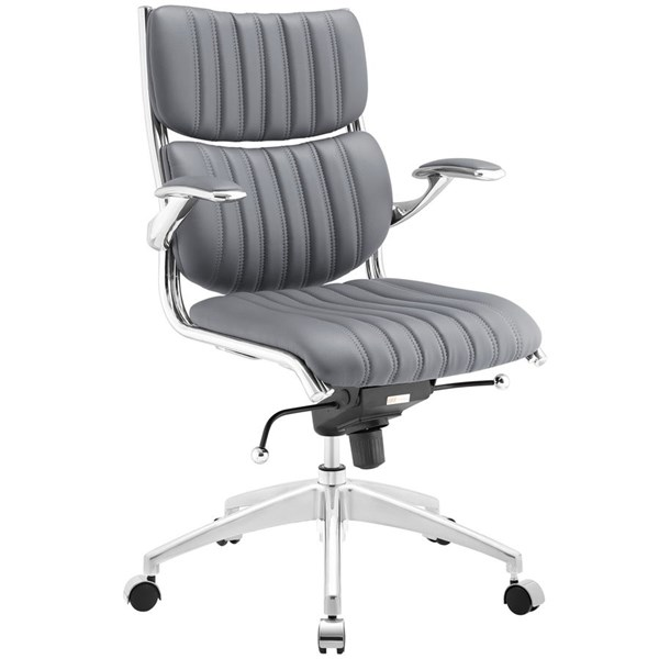 Escape Modern Gray Faux Leather Metal Mid Back Office Chair EEI-1028-GRY