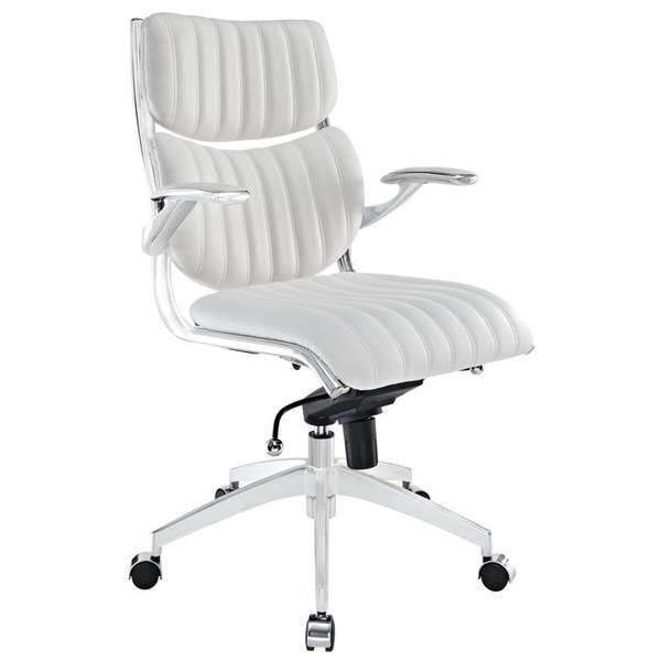 Escape Modern White Faux Leather Metal Mid Back Office Chair EEI-1028-WHI