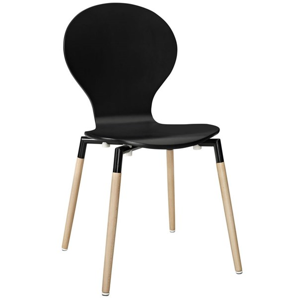 Path Black Solid Wood Steel Dining Side Chair EEI-1053-BLK
