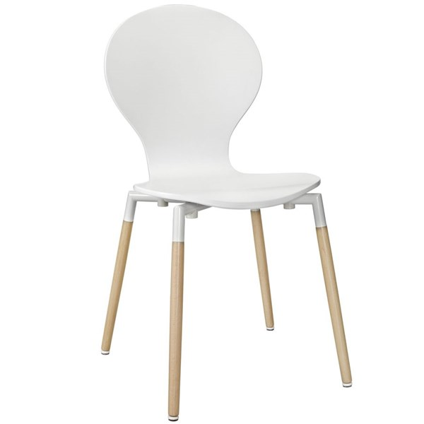 Path White Solid Wood Steel Dining Side Chair EEI-1053-WHI