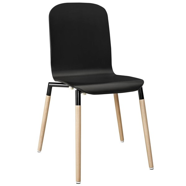 Stack Modern Black Solid Wood Steel Dining Wood Side Chairs EEI-1054-DR-CH-VAR