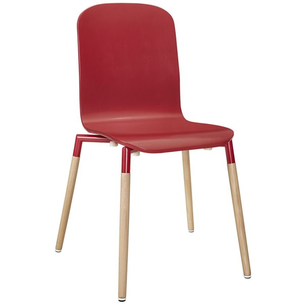 Stack Modern Red Solid Wood Steel Dining Wood Side Chair EEI-1054-RED