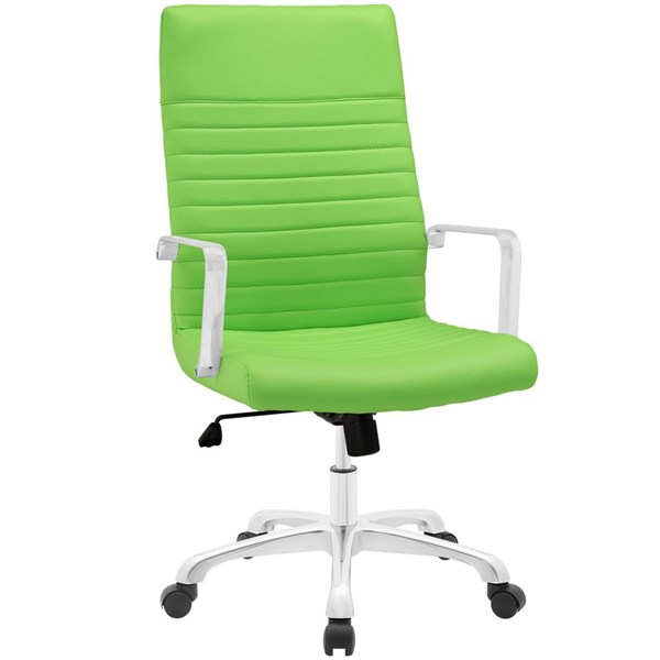 Finesse Modern Bright Green Vinyl Aluminum Highback Office Chairs EEI-1061-HOF-CH-VAR