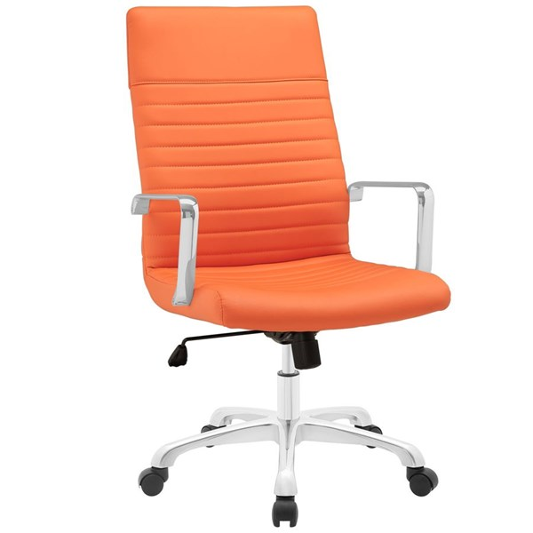 Finesse Modern Orange Vinyl Aluminum Highback Office Chair EEI-1061-ORA