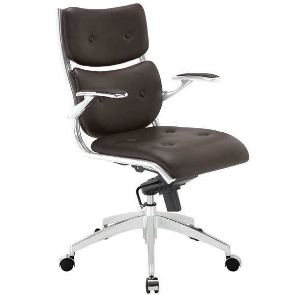 Push Modern Brown Faux Leather Metal Mid Back Office Chair EEI-1062-BRN