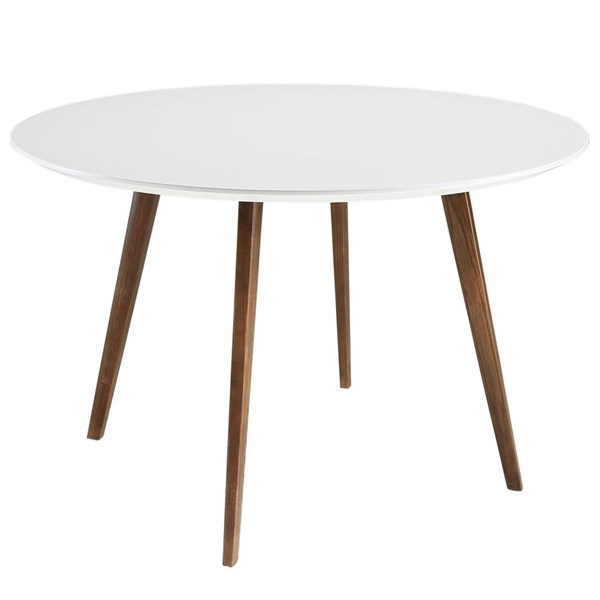 Platter Modern White Solid Wood Round Dining Table EEI-1064-WHI