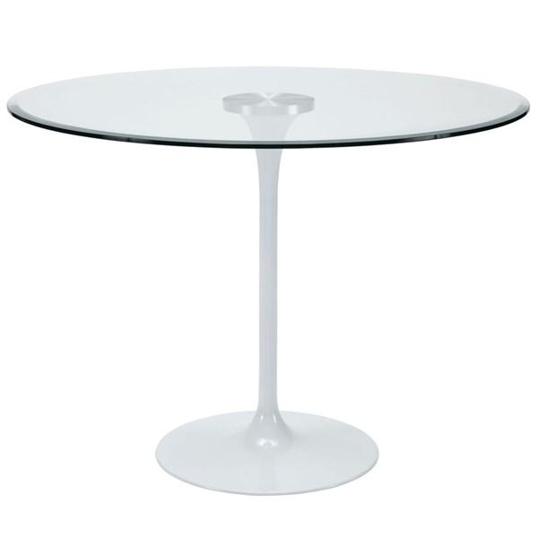 Circuit Modern Clear Glass Aluminum Dining Table EEI-1068-CLR