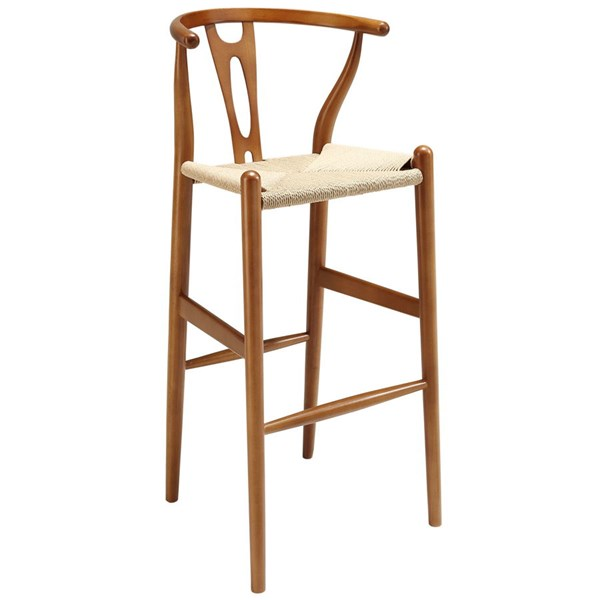 Amish Transitional Walnut Pulp Paper Rope Solid Wood Beech Bar Stool EEI-1079-WAL