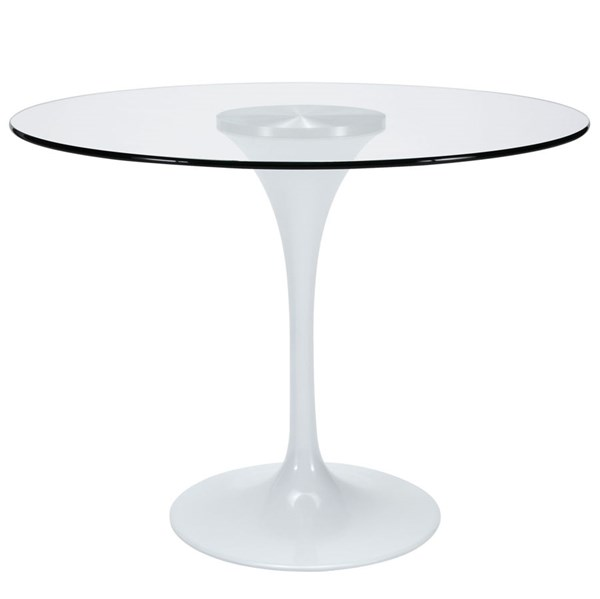 Lippa Traditional Clear Glass Aluminum 40 Inch Top Dining Table EEI-1082-CLR