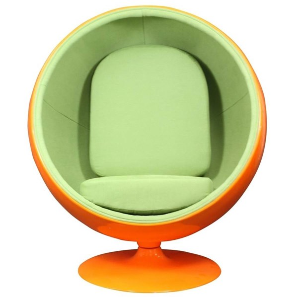 Kaddur Retro Orange Green Fiberglass Lounge Chair EEI-110-ORG
