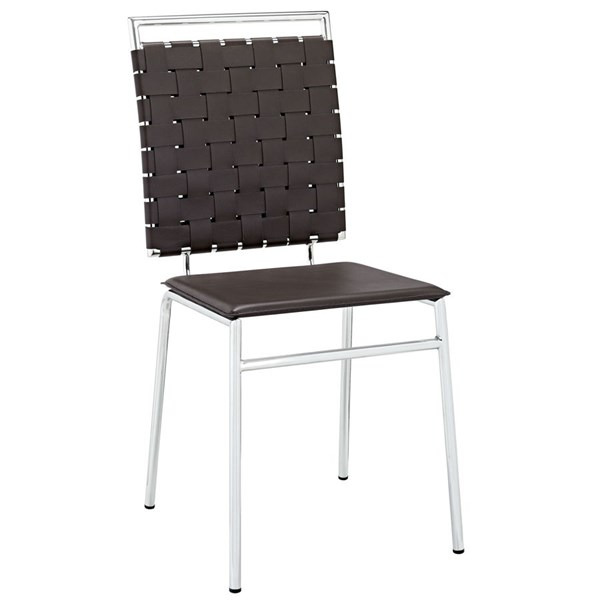 Fuse Modern Brown PVC Wood Metal Dining Side Chair EEI-1106-BRN